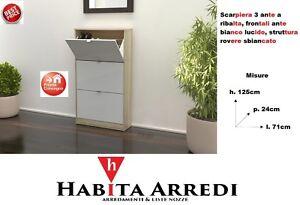 Ante Fai Da Te.Scarpiera Slim 3 Ante A Ribalta Ante Bianco Lucido Design In Kit Fai