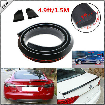 Universal 4.9ft//1.5M Car Rear Roof Trunk Spoiler Wing Lip Trim Sticker Kit Black