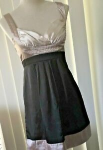 Women-039-s-Dress-Satin-Look-Black-Cream-Sleeveless-Valley-Girl-Sz-10Au-Evening