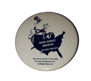 """Vintage 1998 Dr Seuss Cat in the Hat 2.5"""" Pinback Button Read Across America"""