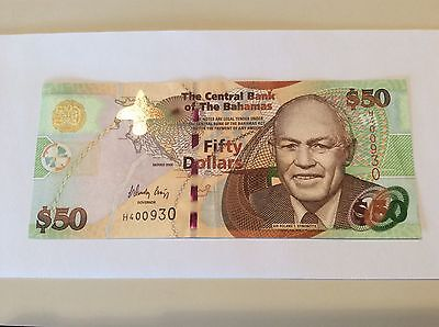 "$50.00 BAHAMAS BANKNOTE  2012 /""CRISP/"" SERIES P75A UNC BEST PRICE ON !"