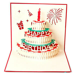 Image Is Loading 3D Pop Up Card Birthday Cake Candles Happy