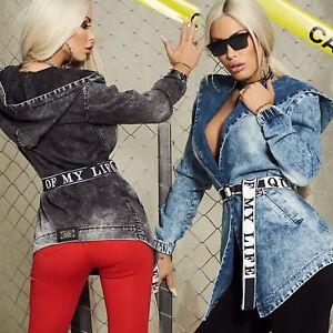 By Alina Mexton Damen Jeansjacke Jeans Cropped Kurzjacke Lederlook Schwarz XS-M
