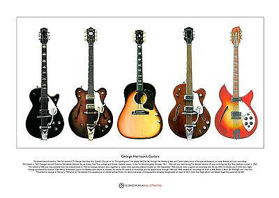 George Harrison's Guitars Limited Edition Fine Art Print A3 size