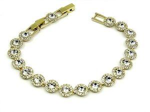 Authentic-Swarovski-Angelic-Gold-Tennis-Bracelet-with-White-Crystals