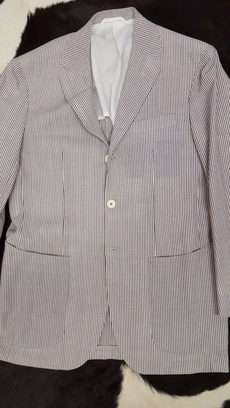 NWT  SARTORIO BY KITON BLAZER 38 40 FULL CANVAS HAND MADE DECONST striped