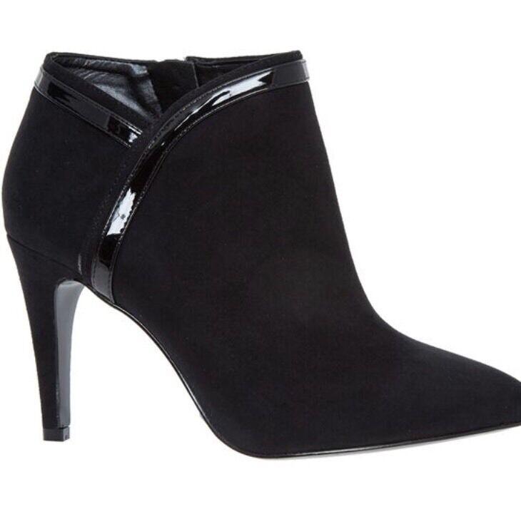 Nine West Ladies negro botas de tacón puntiagudo UK Size 5