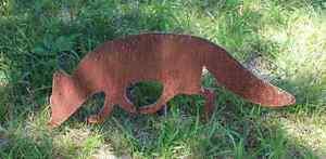 EDELROST-Fuchs-FOX-Tier-Skulptur-Rost-Gartendeko-Metall-Edel-Kunst-Deko-NEU-TOP