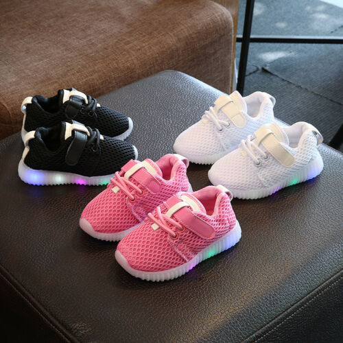 Kids Running Shoes Sneakers LED Light Up Luminous Sport Trainer Baby Boys Girls