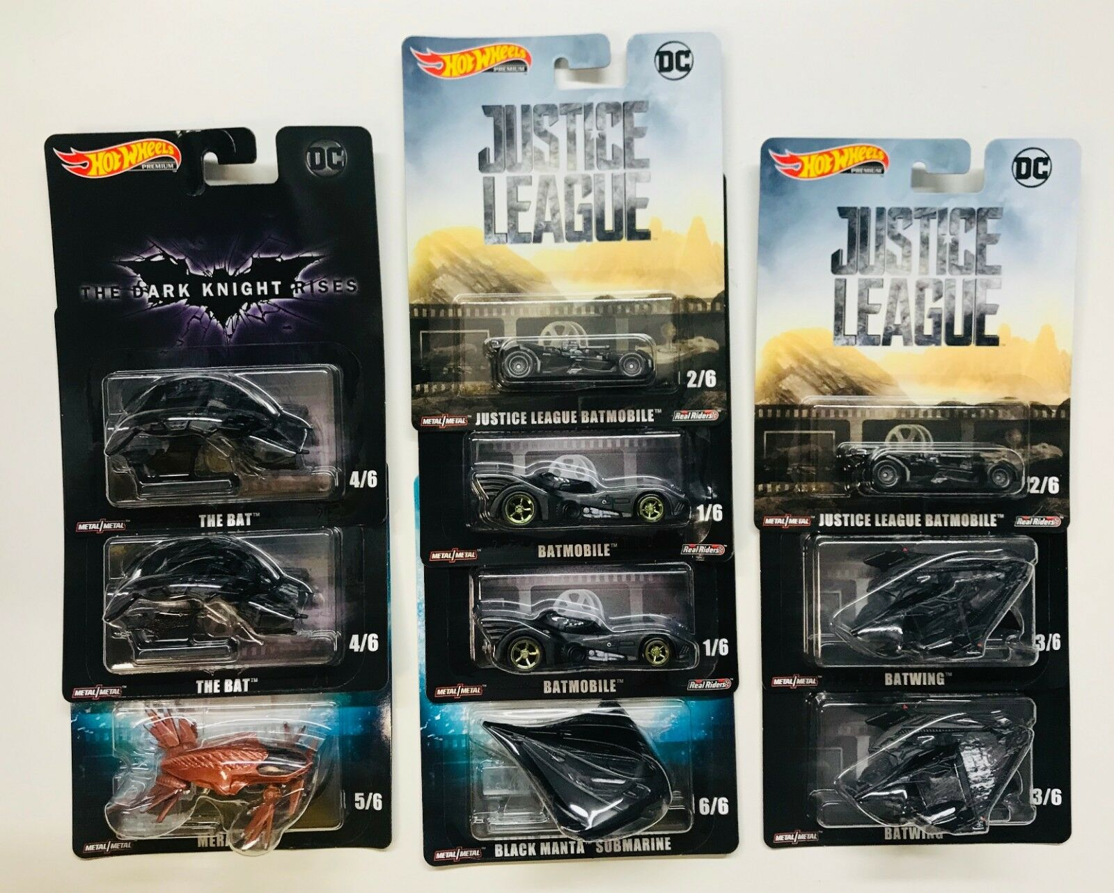 Hot Wheels Retro Entertainment 2019 L Case Justice Justice Justice Batmobile Batwing 10 CARS 19103e