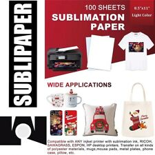 100 Sh 85x11 Dye Sublimation Ink Heat Tranafer Paper Mug Fabrics Sublipaper