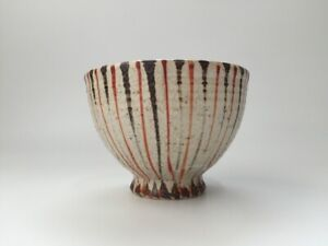 Japanese-Pottery-Tea-Ceremony-Bowl-Cup-Chawan-Vintage-Signed-Stripe-Y463