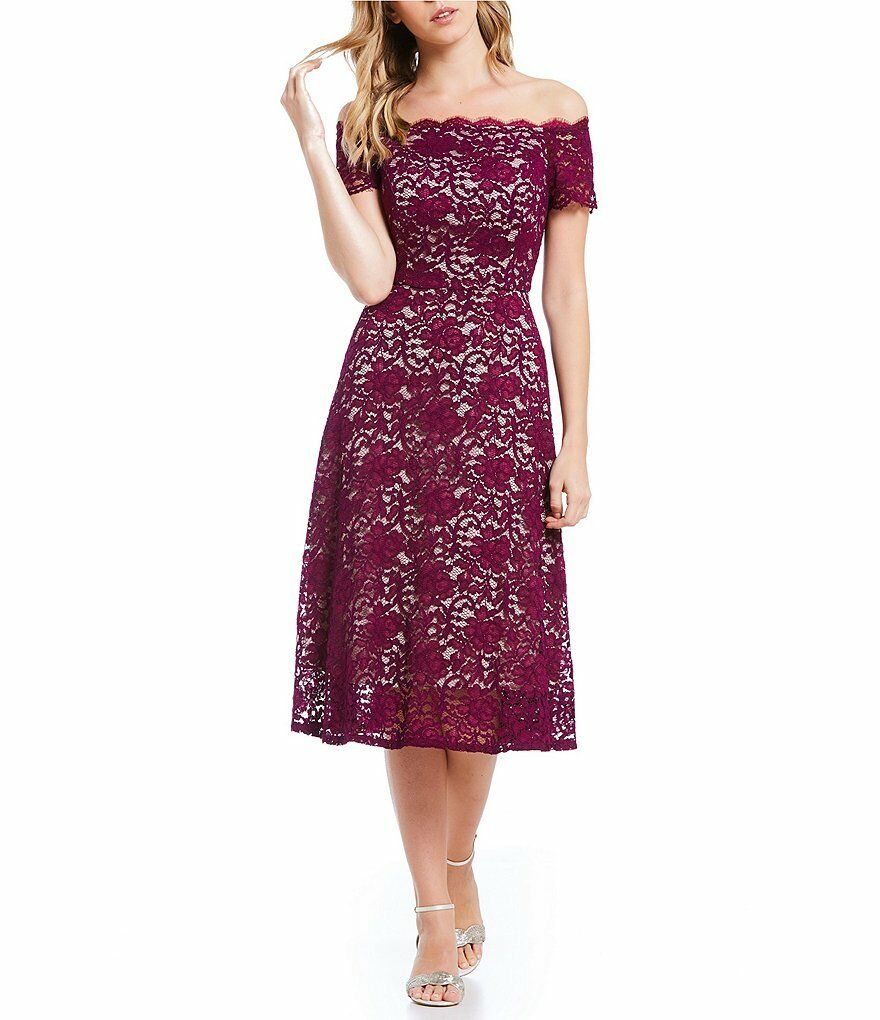 ADRIANNA PAPELL OFF THE SHOULDER LACE FIT & FLARE MIDI DRESS sz 2
