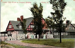 PEORIA, IL - Country Club House at Prospect Heights Illinois Postcard ca. 1910