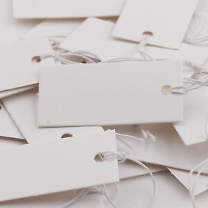 100Pcs White Good Quality Price Tags With Elastic String Tickets Labels 40x20mm