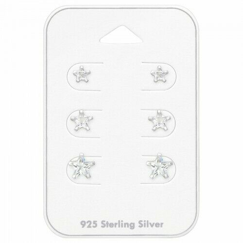 925 Sterling Silver Studs Earrings Star Clear Tiny Small Medium Stars Set Gift