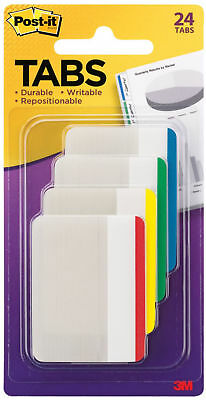 "3M Post-It Filing Tabs 2/"" x 1.5/"" White Durable Writable Repositionable 50pc"