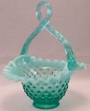 Fenton Art Glass Co. USA: Aqua Opalescent Hobnail-Aqua Looped Handled-Basket