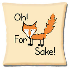 """Funny Novelty Message 'Oh For Fox Sake!' Fox on Cream 16""""  Pillow Cushion Cover"""