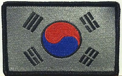 SOUTH KOREA FLAG Tactical PATCH Iron-On Morale Patch Black /& Gray  Version #02