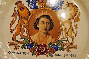 Original Buckingham Palace-ancienne Assiette Couronnement Elisabeth Ii-plate Coronation