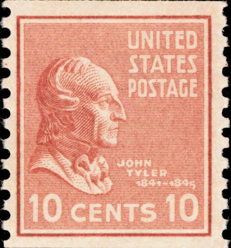 1939 10c John Tyler, 10th U.S. President, Coil Scott 84