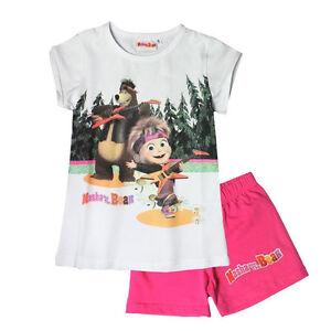 Pigiama-MASHA-E-ORSO-bianco-e-fucsia-t-shirt-pantaloncino-corto-in-cotone