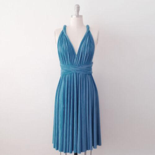 Women Bridesmaid Convertible Multi Way Wrap Evening Party Short Mini Dress