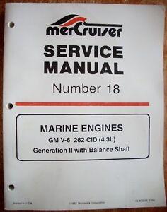mercruiser factory service manual 18 gm v 6 262 cid gen ii marine rh ebay co uk Mercruiser Parts Mercruiser Sterndrive Parts
