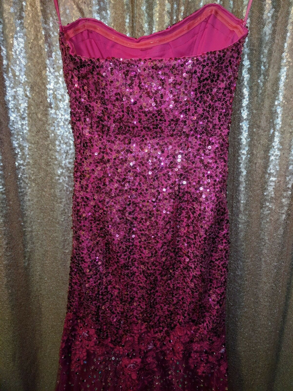 Cinderella Divine hot pink pink pink sequence prom dress size 4 616069