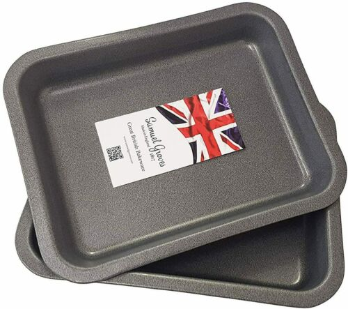 2x 23 cm Single Portion Oven Baking Tray Roasting Pans Non-stick Made in England