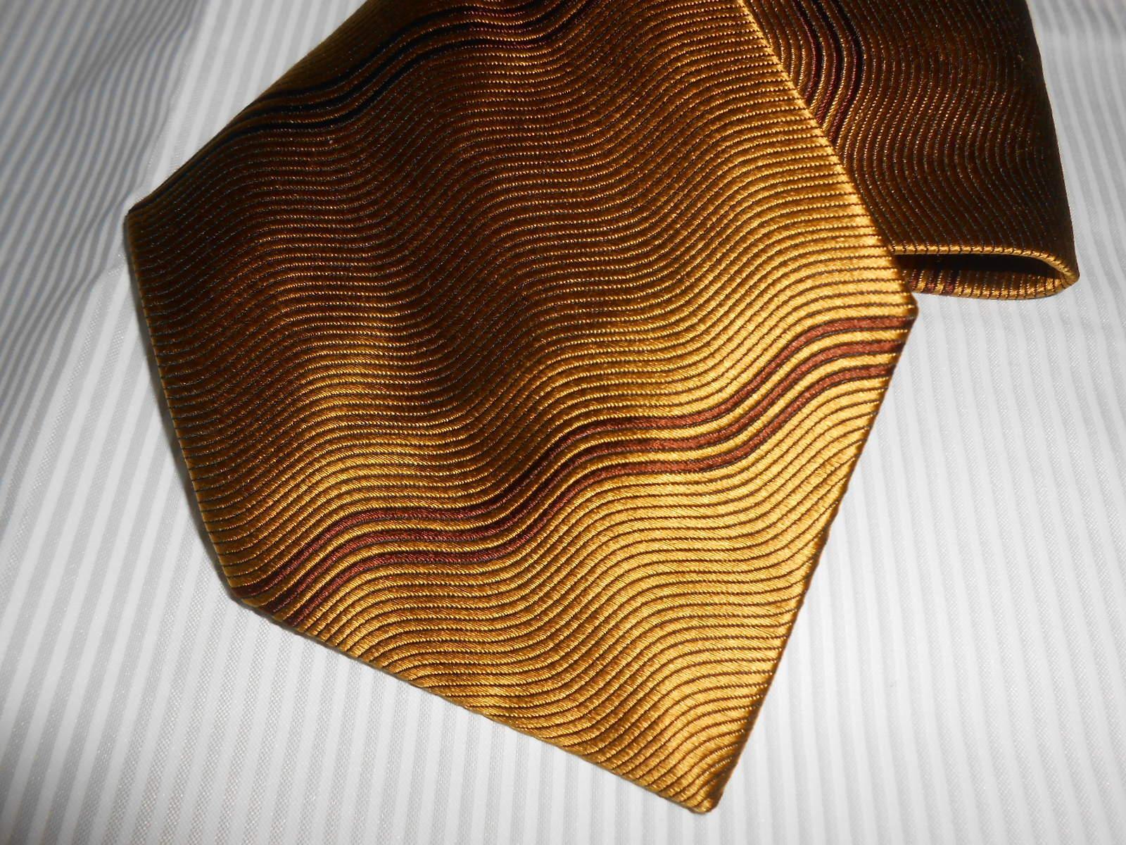 180 K3 Bugatti Designer Tie Gold Brown Patterned Silk 10 cm wide