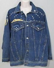 Women's Freego Dark Blue Denim Bedazzled Bead Studded Jean Jacket Size M Medium
