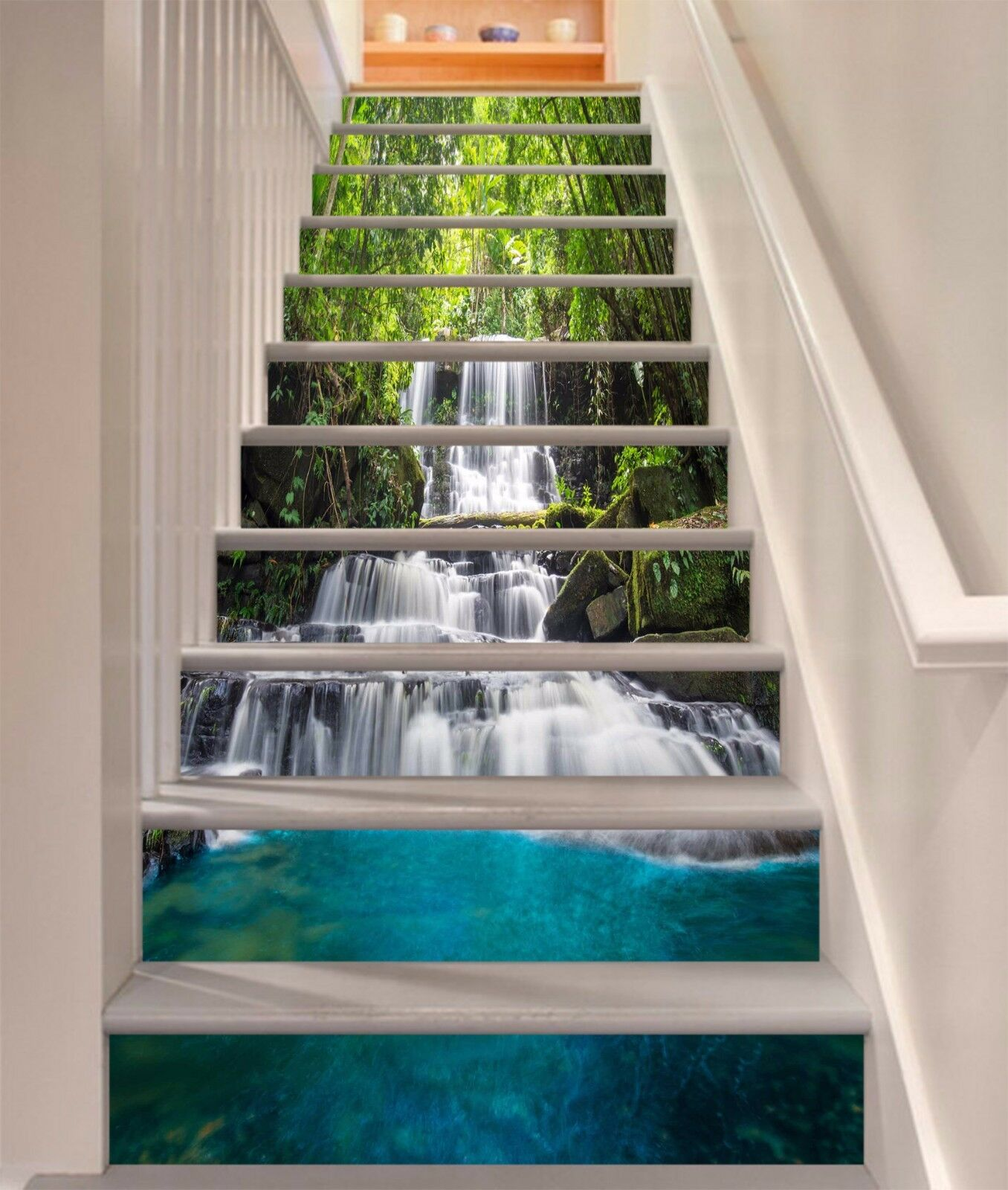 3D Waterfall Forest 813 Risers Decoration Photo Mural Vinyl Decal Wallpaper CA