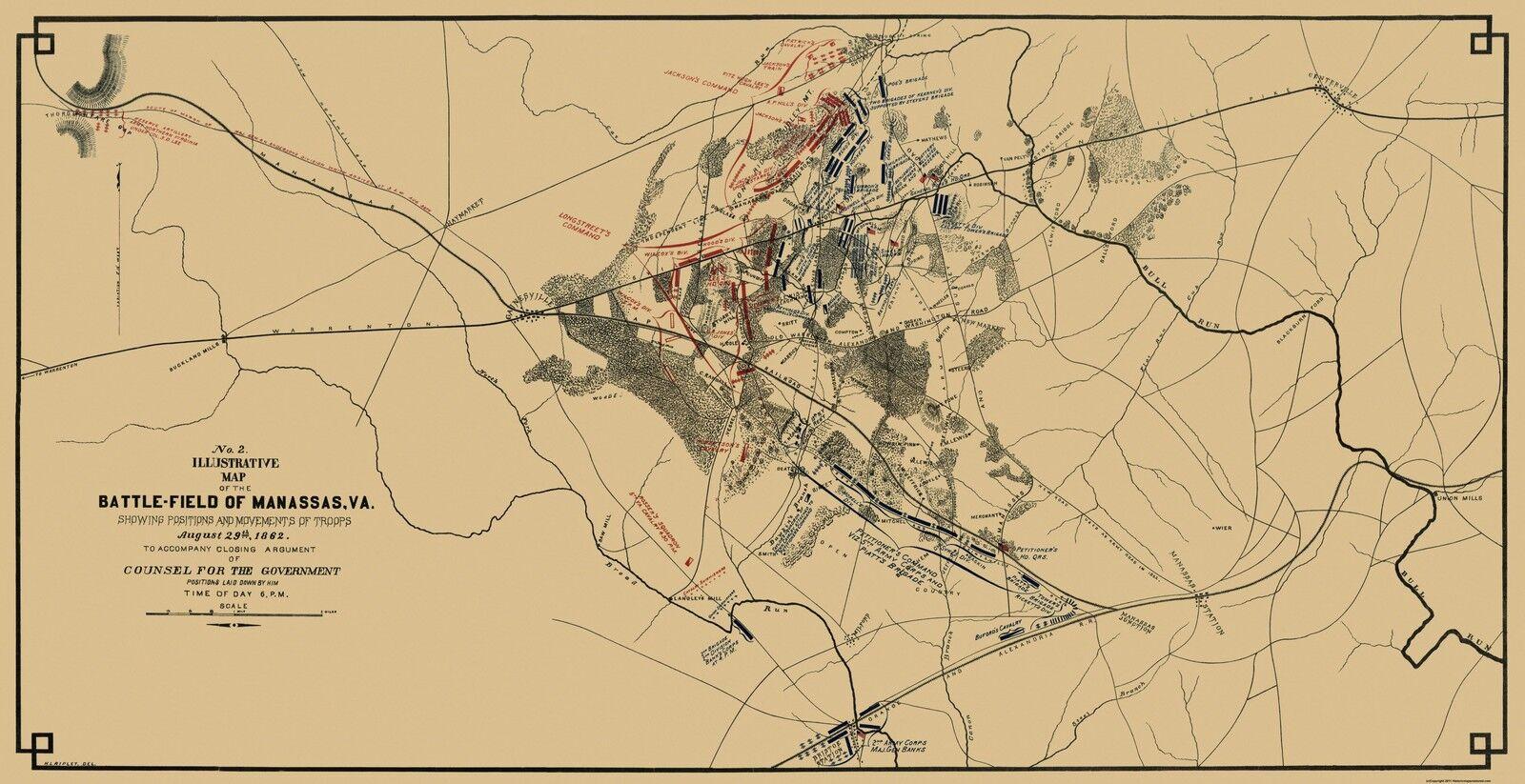 Civil War Map Print - Manassas Battlefield Virginia - 1862 - 44.69 x 23