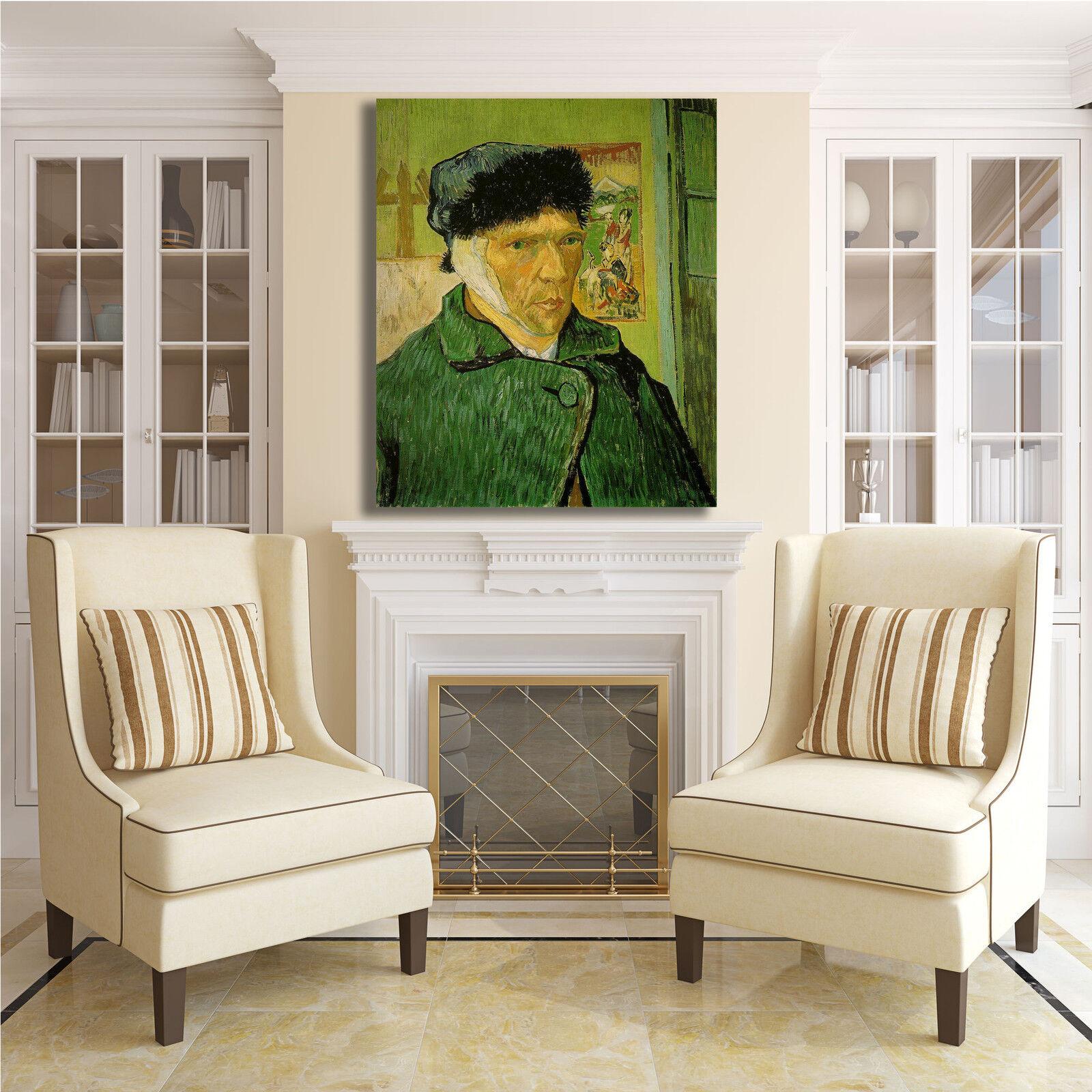 Van Gogh autoritratto con orecchio quadro tela stampa tela quadro dipinto telaio arRouge o casa ed493a