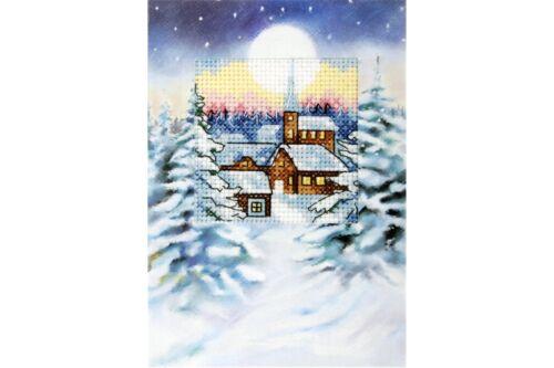 Orchidea Cross Stitch Card Kit Snowy Moonlit Village