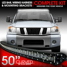 "3D LED Light Bar Kit 50"" Inch 288W Bracket & Wiring Switch for Titan 2004-2014"