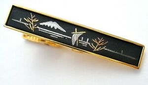 Vintage-Amita-Damascene-Tie-Clip-Gold-Plated-Clasp-Bar-Men-039-s-Black-Enamel