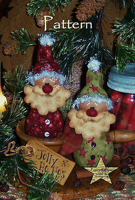 Patti's Ratties Primitive Christmas Santa Doll Ornies Paper Pattern #391
