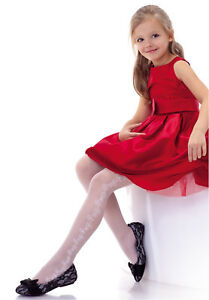 All Occassions Classic White Little Princess Girls Communion Bride Tights H111-2