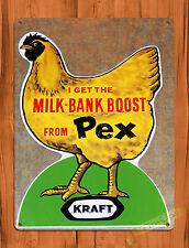 "TIN-UPS TIN SIGN ""Kraft Pex Chicken"" Feed Farm Vintage Art Poster Ad Man Cave"