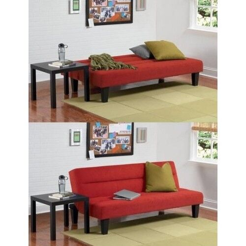 Futon Sofa Bed Couch Furniture Lounger Sleeper Dorm Living Room Modern Full Red