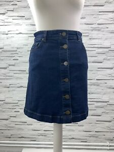 OASIS-Dark-Blue-Denim-Mini-A-Line-Front-Button-Skirt-Size-8