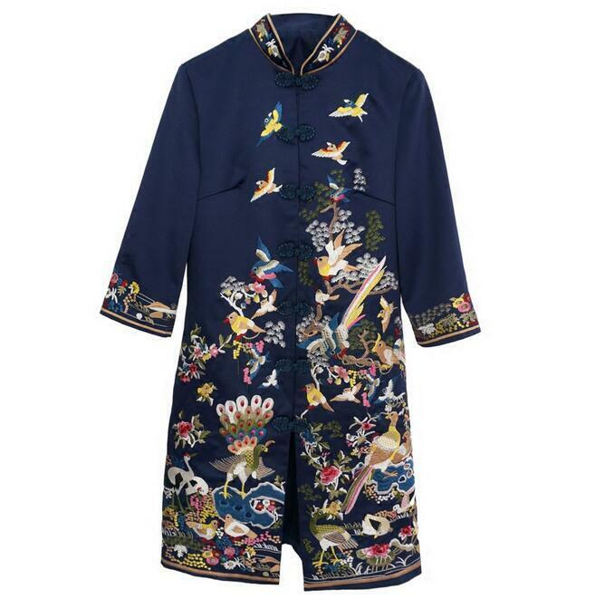 Women Retro Embroidery 3 4 Sleeve Cheongsam Coat Long Slim Fit Outwear Ethnic