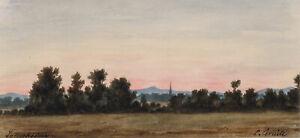 O-CORNILL-1824-Landschaft-bei-Frankfurt-Sossenheim-Morgenrot-Aquarell