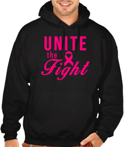 New Men/'s Unite The Fight Black Hoodie Breast Cancer Awareness Support Hope V396