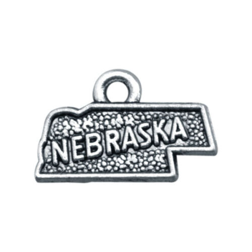 20PCS//60Pcs Antiqued Silve Metal NEBRASKA US States Map Charms #91919