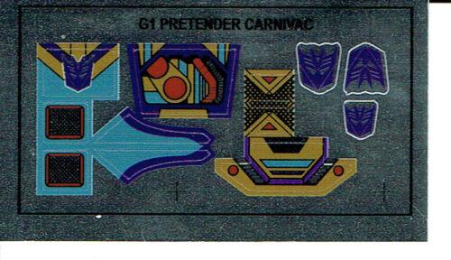 TRANSFORMERS GENERATION 1 STICKERS G1 DECEPTICON CARNIVAC REPRO LABELS
