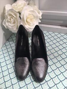 Via-Spiga-Gunmetal-Silver-Women-039-s-Fashion-pumps-High-Heels-Dress-Sandals-SZ-8-5